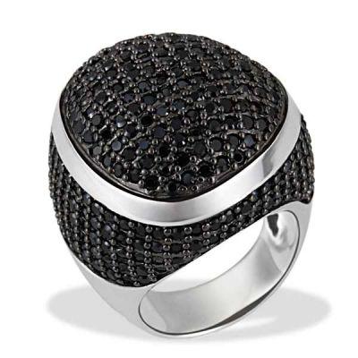 Damenring Glamour Rock 925 Sterlingsilber 242 schwarze Zirkonia