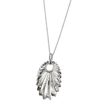 Collier Halskette 925 Sterlingsilber 40 weiße Zirkonia Ankerkette