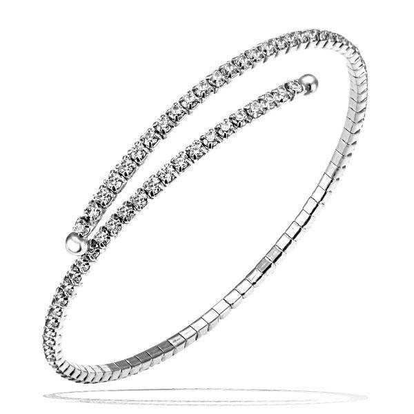 Armreif 925/- Sterlingsilber flexibel 96 Zirkonia weiß