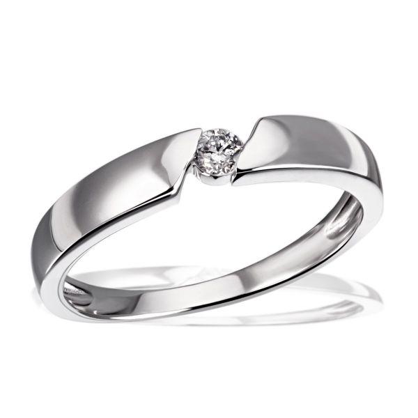 Damenring Verlobungsring, Freundschaftsring, 925 Sterlingsilber 1 Brillant 0,08 ct. P2/H