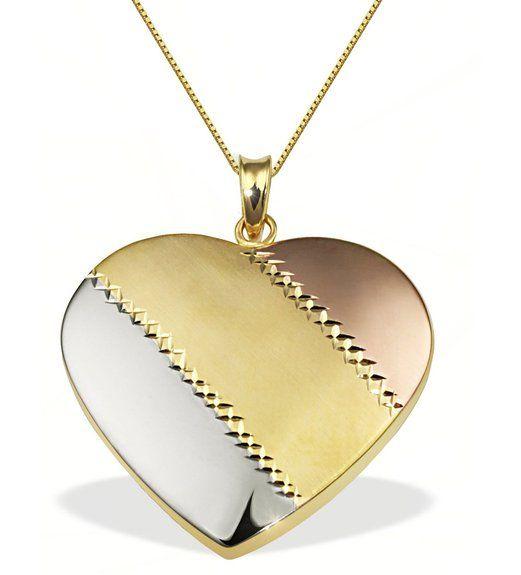 Collier Halskette Anhänger Herz gestreift 375 Gold Tricolor