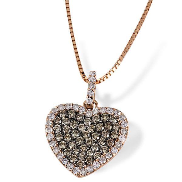 Collier Herz 585 Rotgold 39 champagner Brillanten zus. 0,42 ct. & 38 Diamanten zus. 0,26 ct.