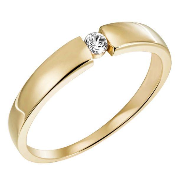 Damen Ring Spanndesign Gelbgold 585 mit Lupenreinem Brillant 0,30 ct.