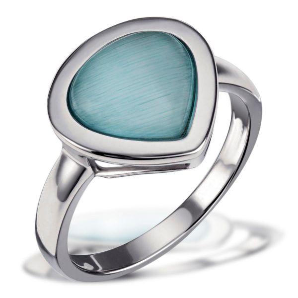 Damenring 925 Sterlingsilber aquamarinblauer Glaskristall