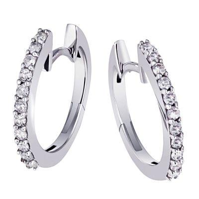Paar Creolen 585 Weißgold 22 Diamanten zus. 0,29 ct. P2/H