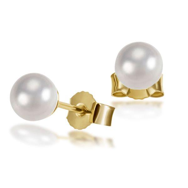 Paar Ohrstecker 585 Gelbgold Ohrringe 2 Akoya Perlen 5-5,5 mm