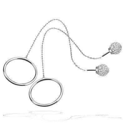 Paar Ohrringe Durchzieher Ring 925 Sterlingsilber poliert 160 weiße Zirkonia