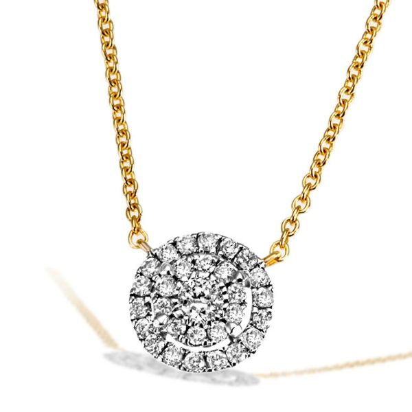 Collier 585 Gelbgold Ankerkette 29 Brillanten zus. 0,16 ct.