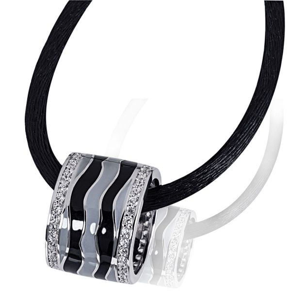 Collier Halskette Wave 925 Sterlingsilber 70 Zirkonia weiß Seidenkette