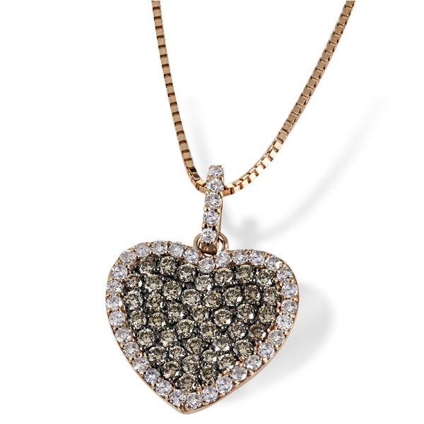 Collier Herz Anna (klein) 585 Rotgold zus. 0.68 ct., 39 champagner Brillanten & 38 weisse Diamanten