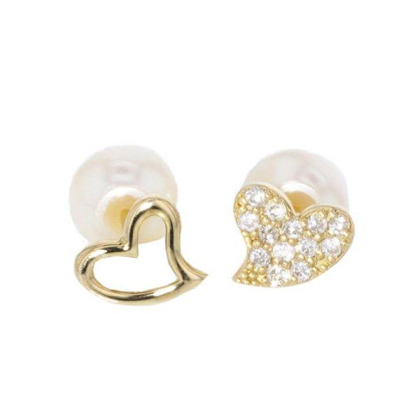 Paar Ohrstecker Double Face 750 Gelbgold 2 Perlen 13 Diamanten SI
