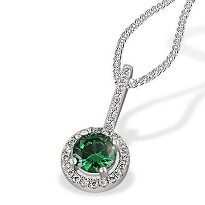 Collier Halskette 925 Sterlingsilber 1 synth. Smaragd 28 Zirkonia klar