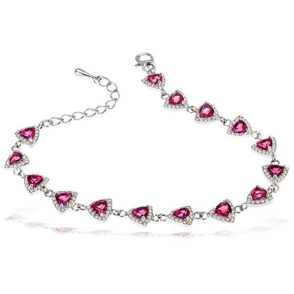 Damenarmband 925 Silber mit rubinfarbenen Zirkonia