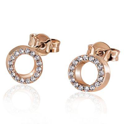 Paar Ohrstecker 585 Rotgold 32 Diamanten zus. 0,22 ct.