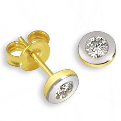 Paar Ohrstecker Bicolor 585 Gold 2 Brillanten lupenrein zus. 0,10 ct. IF/KL