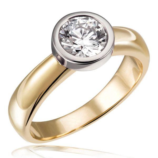 Stella Ring 750/- Gold Bicolor 1 Brillant 1,00 ct. Lupenrein oder SI inkl. IGI Gutachten