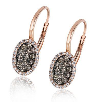 Paar Ohrhänger 585 Rotgold 26 Brillanten champagner zus. 0,33 ct. & 44 weiße zus. 0,15 ct.