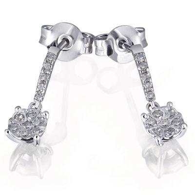 Paar Ohrhänger Glamour 585 Weißgold 24 Diamanten zus. 0,16 ct.