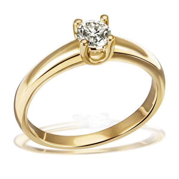 Damen Ring Solitär 4er Krone 585 Gelbgold Brillant 0,50 ct. Halbkaräter P1/KL Größe wählbar 52-60