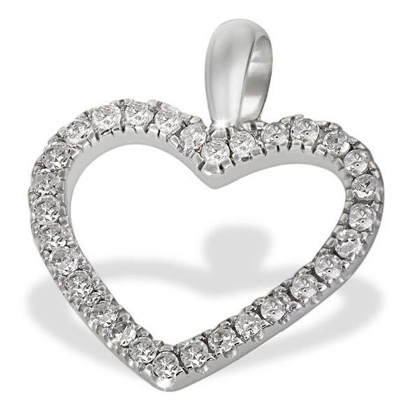 Anhänger Herz 585 Weißgold 30 Diamanten zus. 0,16 ct.