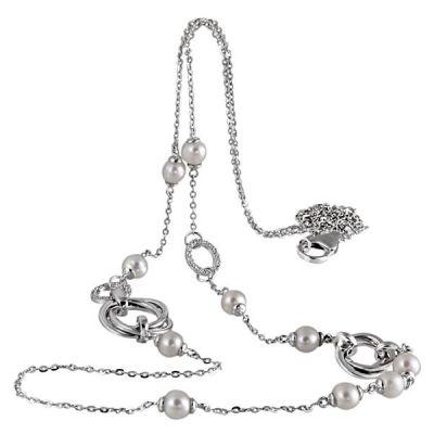 Collier Halskette 80 cm Länge 925 Sterlingsilber 10 Perlen 38 Zirkonia