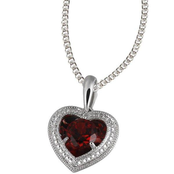 Collier Halskette Herz 925 Silber 1 Granat, 2 Diamanten zus. 0,01 ct.