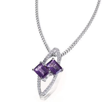 Collier Halskette Purple Twins 925 Silber 2 Amethysten 30 Zirkonia