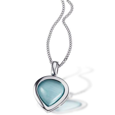 Collier Halskette 925 Sterlingsilber aquamarinblauer Glaskristall Panzerkette