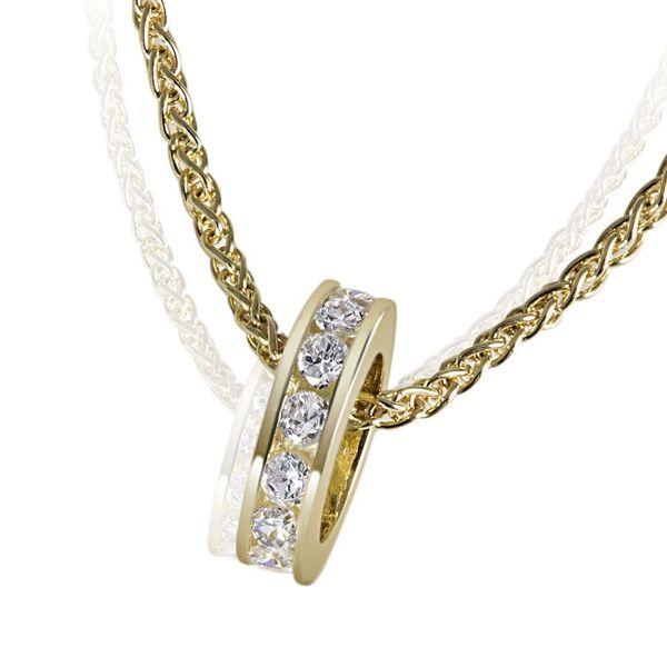 Collier Halskette Taufring 375 Gelbgold Zopfkette 16 weiße Zirkonia