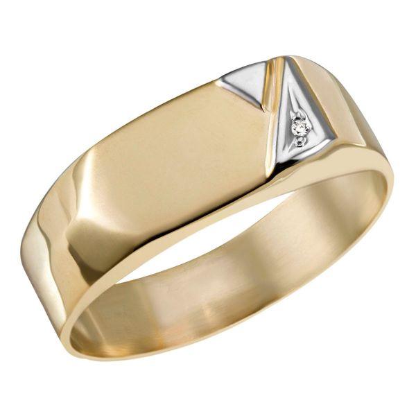 Herrenring 375 Gelbgold rhodinierte Dreiecke 1 Diamant 0,01 ct.