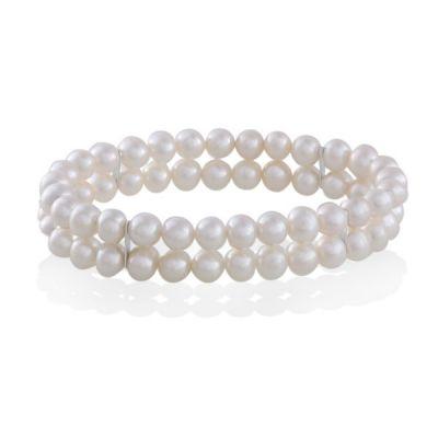 Perlenarmband 2-reihig 58 weiße Süßwasserperlen