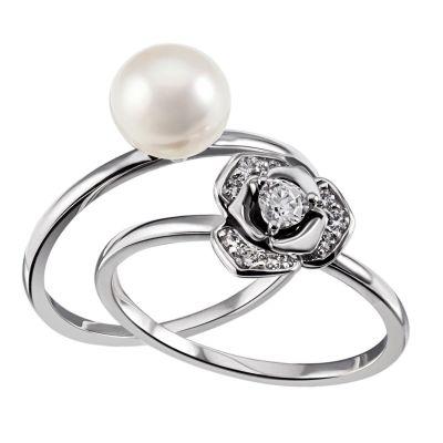 Set Damenringe Perlenblüte 585 Weißgold 1 weiße Perle 7-8 mm 10 weiße Zirkonia