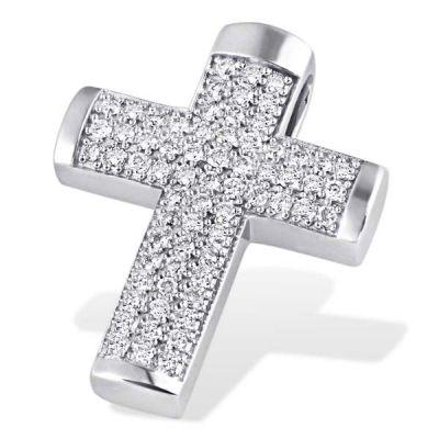 Anhänger Pavee Kreuz 585 Weißgold 66 Brillanten zus. 0,50 ct. SI1/H