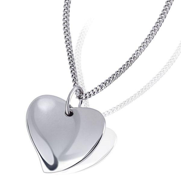 Collier Halskette Herz geschwungen 925 Sterlingsilber Panzerkette