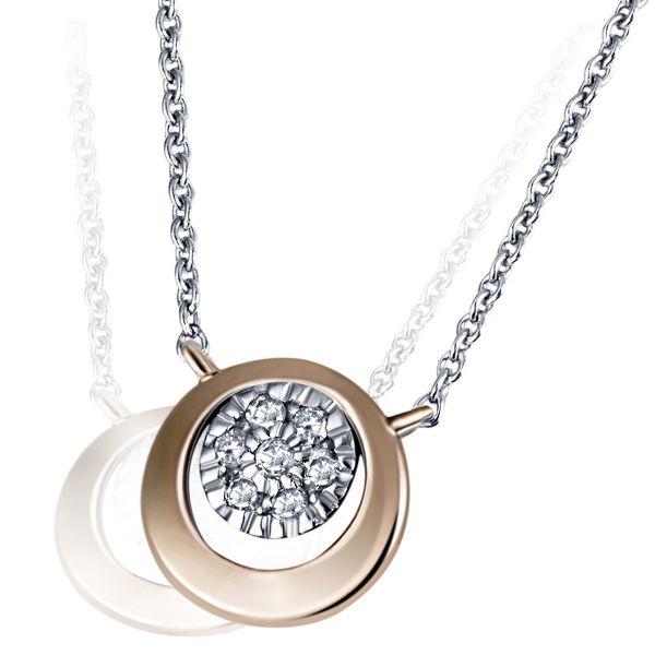 Collier Halskette Cosmic 585 Rotgold 7 Diamanten zus. 0,06 ct.