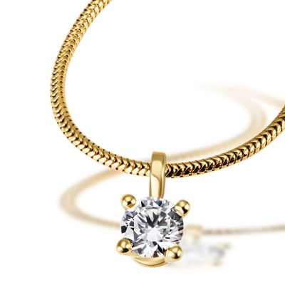 Jolie Collier 585/- Gelbgold 1 Brillant 0,50 ct. inkl. Expertise