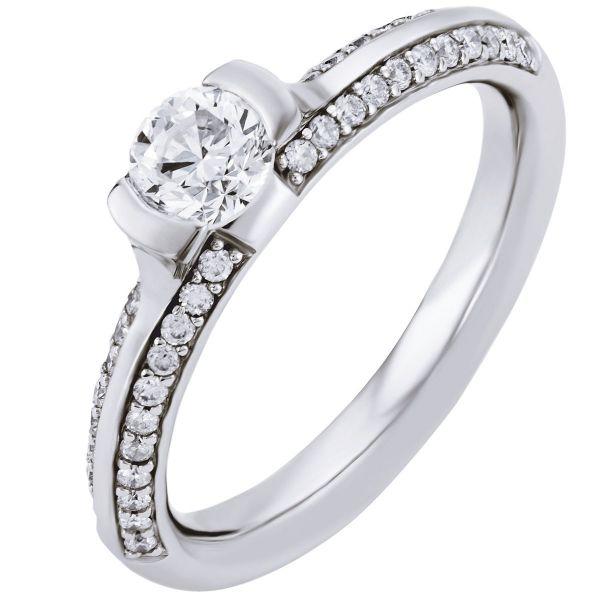 Ring Verlobungsring 585 Weißgold 44 Brillanten zus. 0,30 ct., 1 Brillant 0,50 ct. SI1/H
