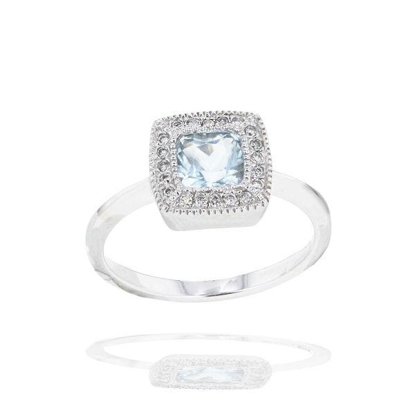 Damenring 585 Weißgold 1 Topas Edelstein 20 Diamanten zus. 0,11 ct.