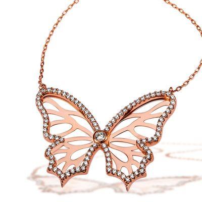 Collier Schmetterling 925 Stelingsilber rotvergoldet 95 weiße Zirkonia