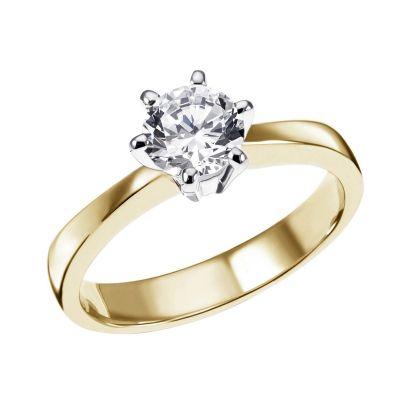 Damen Ring Solitär 6er Krone 585 Weißgold Brillant 0,50 ct. Halbkaräter SI1/H Größe wählbar 52-60