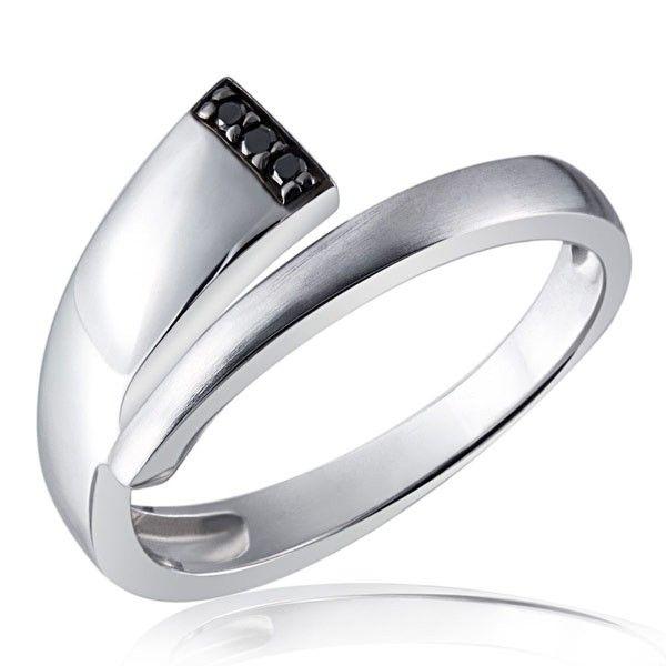 Damenring Black Diamonds 925 Silber 3 schwarze Brillanten zus. 0,03 ct.