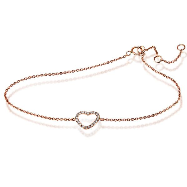 Armband Herz 585 Rotgold 20 Diamanten zus. 0,14 ct. SI/H