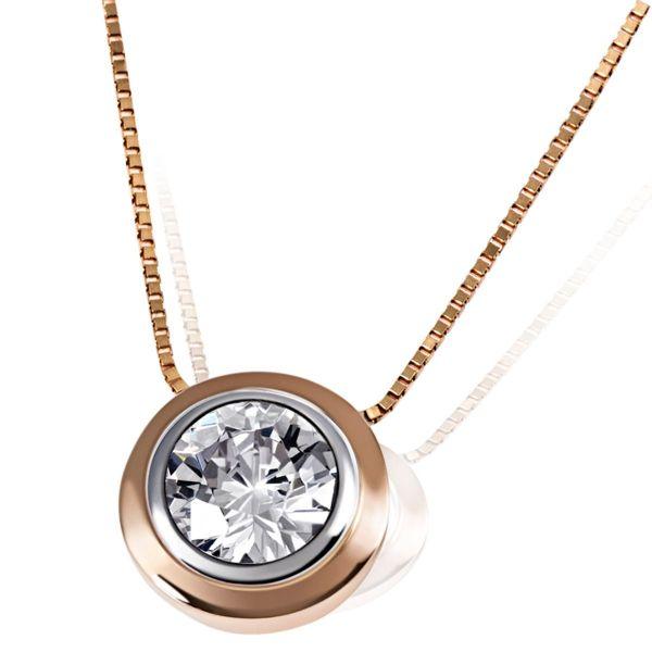 Collier Halskette 375 Rotgold 1 Zirkonia weiß Venezianerkette
