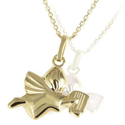Collier Halskette Anhänger Engel mit Harfe 375 Gelbgold Ankerkette