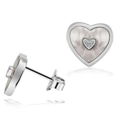 Paar Ohrstecker 925 Sterlingsilber Herz Ohrringe Perlmutt 6 weiße Zirkonia