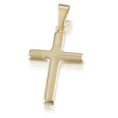 Anhänger Kreuz Gelbgold 585 Oberfläche teilweise gesandet