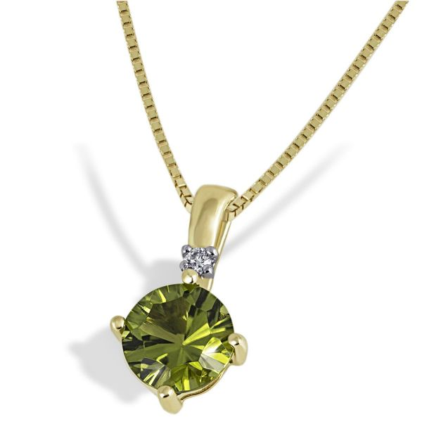 Collier 375 Gelbgold 1 Peridot Edelstein 1,58 ct., 1 Brillant 0,03 ct.