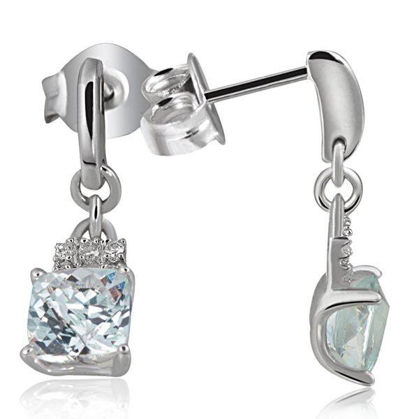 Paar Ohrstecker 375 Weißgold 2 Aquamarin, 10 Diamanten zus. 0,04 ct.