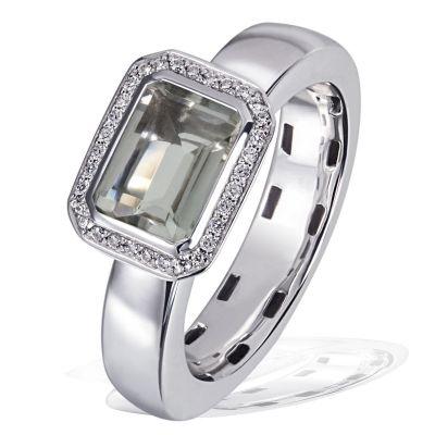 Damenring Elegance 925 Silber 1 Amethyst grün, 32 Zirkonia weiß