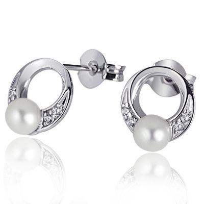 Paar Ohrstecker 925 Sterlingsilber 2 weiße Perlen 8 weiße Zirkonia